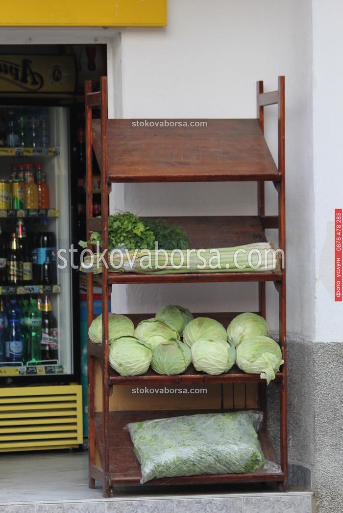 Стелажи за плодове и зеленчуци от дървен материал